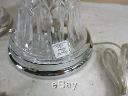 GORGEOUS Vintage 24% Lead Cut Crystal Side-Table Lamps with Teardrop Prisms NOS