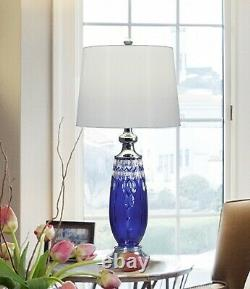 GT17083 Dale Tiffany Blue Marble 24% Lead Hand Cut Crystal Table Lamp