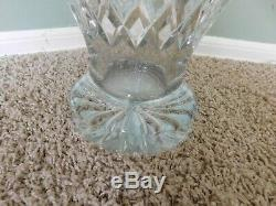 Gallia Vase Clear Cut 24% Lead Crystal Glass Footed Floral Large 13.5 inch tall