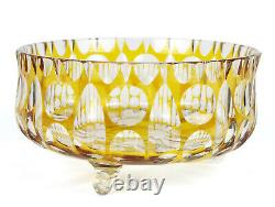 Gold Yellow Bohemian Cut to Clear Footed Fruit Bowl, Vintage Glass Ferner 7 3/4