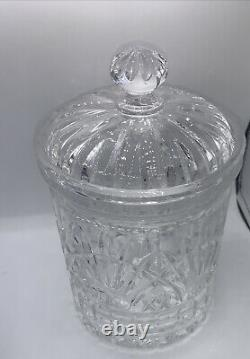 Gorgeous 24% Cut Lead Crystal Waterford Candy BISCUIT Barrel Jar with Lid
