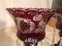 Gorgeous Antique Bohemian Lead Crystal Hand Cut Cranberry Ruby Lusters Mint New