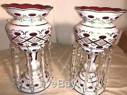 Gorgeous Antique Bohemian Lead Crystal Hand Painted & Cut White On Ruby Lusters