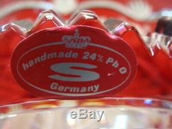 Gorgeous Round Bowl 24% Lead Crystal Ruby Red Clear Cut Etched Handmade Germany