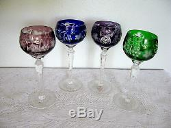 Gorgeous Set of 4 Nachtmann CUT TO CLEAR Lead Crystal Wine Glass HUNGARY