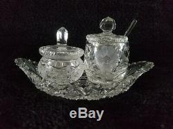 Hand Cut, Lead Crystal-Covered Jelly Jar Dish mustard condiments with spoon