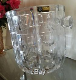 Hand Cut Lead Crystal Ice Bucket RARE Sophisticated Geometric Design W. Germany
