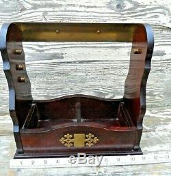 High Quality Vintage Oak Tantalus With Brass Lock & Tilting Top Cut Lead Crystal