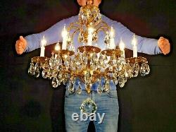 Huge ANTIQUE French 1950s 10 Arm 10 Lite Cut Lead Crystal Chandelier
