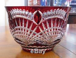 Huge Ajka Crystal, Claresta Gold Ruby Red 24% Lead Cut to Clear Bowl, Hungary