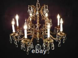 Huge Antique French Brass Rococo Birdcage 8 Lite Cut Lead Crystal Chandelier