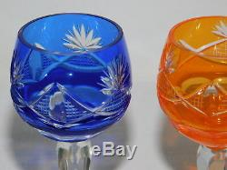 Imperlux Bohemian Lead Crystal Hand Cut to Clear Cordial Goblets SET OF 5 Colors