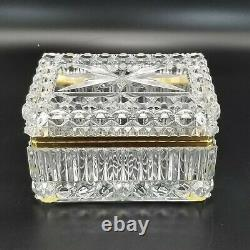 Imperlux Hand Cut Lead Crystal and Brass Hinged Casket Style Jewelry Trinket Box
