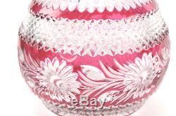 Imperlux Lead Crystal Bowl Cut to Clear Ruby Red (8 diam x 6.5 tall)