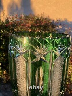 LAUSITZER GERMANY Emerald Green CUT TO CLEAR LEAD CRYSTAL 12 FLORAL VASE