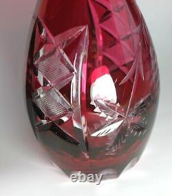 LAUSITZER crystal DECANTER Ruby Red German Lead Crystal Hand Cut