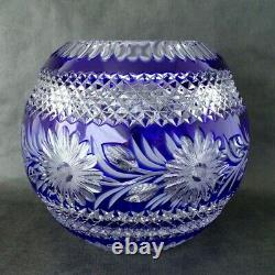Large BOHEMIAN / Czech Lead Crystal Vibrant Blue Cut to Clear Glass ROSE BOWL