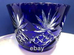 Large Bohemian Cobalt Blue Cut to Clear Lead Crystal Ice Bowl Center Piece Bowl