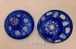 Large Cobalt Blue Cut to Clear Czech Bohemian Lead Crystal Covered Bowl