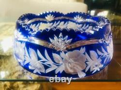 Large Cobalt Blue Cut to Clear Czech Bohemian Lead Crystal Saw Tooth Bowl