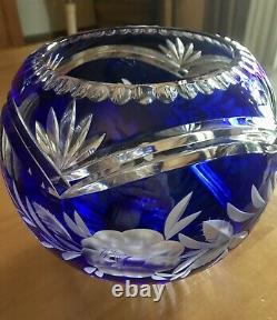 Large Cobalt Blue Hand Cut To Clear Lead Crystal Bowl Exquisite