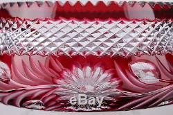 Large Imperlux Ruby Red Cut To Clear Lead Crystal 8-1/2 Bowl Mint
