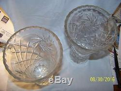 Large Pair Of Hand Cut Wide Mouth Lead Crystal Vase 9.75 Hight 6 Diamerter