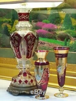 Large Tall Red Cranberry Ruby Lead Crystal Cut Glass Bohemian Czech Table Lamp