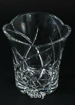 Large Vintage Clear Cut Crystal Vase Flared Top Bucket 8.5 Tall Thick Leaded