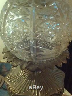 Large Vintage Hand Cut Lead Crystal Prism Brass Bronze Marble Table Lamps
