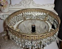 Large Vintage Table Lamp Lead Cut Crystal Glass Baroque Droplets Gold Cherub