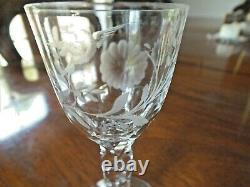 Late 18th C Georgian Facet Cut Stemmed Etched Ogee Bowl Glass C1780