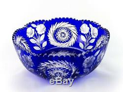Lausitzer Cobalt Blue Cut to Clear Rose & Wreathed Star Large Bowl, Vintage 9