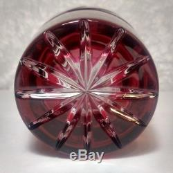 Lausitzer Cranberry Cut To Clear 24% Lead Crystal 10T German Democratic Repub