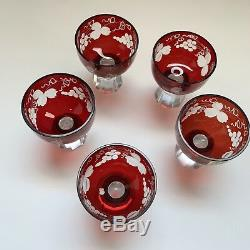 Lausitzer glas Ruby Red Lead German Crystal Cut to Clear Decanter 5 cups