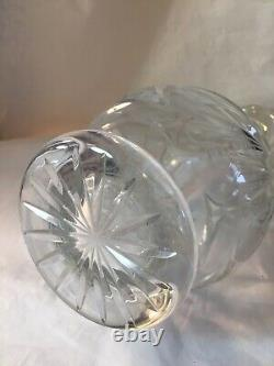 Lead CRYSTAL Etched STAR Pinwheel CUT Glass DECANTER Stopper WINE Bottle HOBSTAR