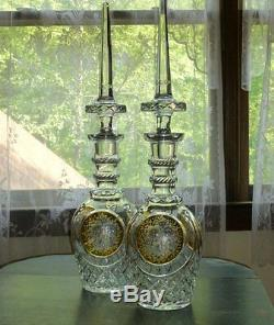 Lead Crystal 27 Wine Decanter(s) amber cut to clear, dagger stopper