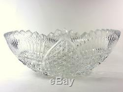 Lead Crystal Cut Glass Punch Bowl or Centerpiece Bowl
