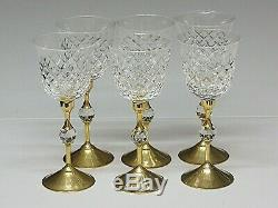 Lead Crystal Cut Glass Wine Glasses Set Of 6 With Gold Base And Stem