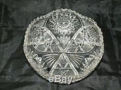 Lead Crystal Fruit Serving Bowl Saw Tooth Brilliant Cut Glass Centrepiece