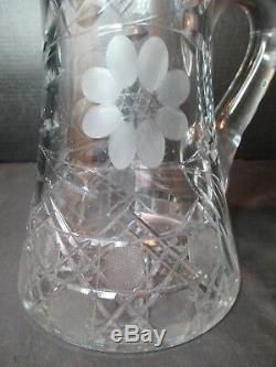 Lead Crystal Pitcher Frosted Flowers Deep Cut Very Heavy 10 Tall