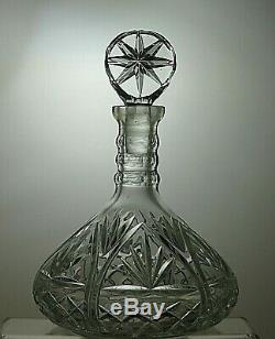 Lead Crystal Triple Neck Ring Cut Glass Ships Decanter With Bulls Eye Stopper