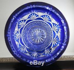 Lg. Irena Crystal, Cobalt Blue Signed 24% Lead Cut to Clear Vase, 10