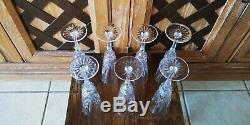 Lot Of 7 Vintage Fine Lead Cut Crystal Glasses Flute Champagne Glasses 8.5 Mint