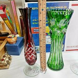 Lot of 3 Bohemian Lead Crystal Cut-to-Clear Vase, 2 Vase, 1 Candle Holder