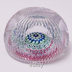 Ltd. Ed. 1976 Whitefriars Full Lead Cut Crystal Paperweight Millefiore Stars