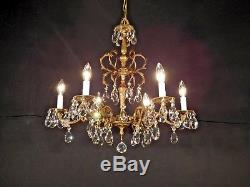 MASSIVE Antique French Brass 6 Arm 6 Lite 24W x 24T Cut Lead Crystal Chandelier
