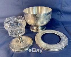 Mappin & Webb Silverplate Chilled Caviar Serving Dish Bowl Cut Lead Crystal RARE