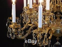 Massive ANTIQUE French Brass 10 Arm 20 Lite European Cut Lead Crystal Chandelier