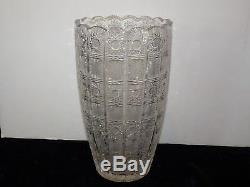 Massive QUEEN LACE Cut 24% Lead Crystal Flower Vase 12 1/4 STUNNING $350 Value